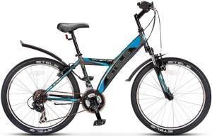"""Велосипед Stels Navigator 24"""" 410 V 21 sp V020 Антрацитовый/Черный/Синий"""