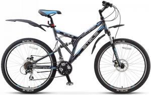 Велосипед Stels Challenger MD 26 (2016) Темно-серый/Черный/Голубой