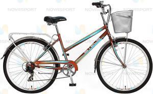 """Велосипед Stels Navigator 26"""" 250 Lady Золотистый/Бирюзовый (с корзиной)"""