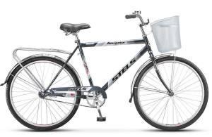 """Велосипед Stels Navigator 26"""" 210 Gent V010 Темно-синий/Голубой (с корзиной)"""